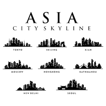 Asia Asian Cities - City Tour Skyline Illustration
