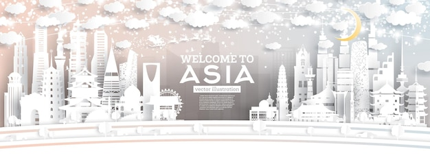 Горизонты города азии в стиле вырезки из бумаги со снежинками, луной и неоновой гирляндой.