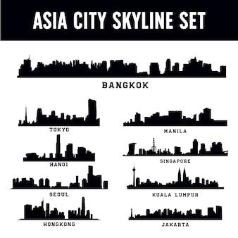 아시아 도시 스카이 라인 세트