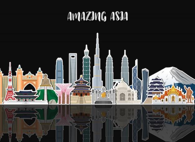 Asia famous landmark paper art.