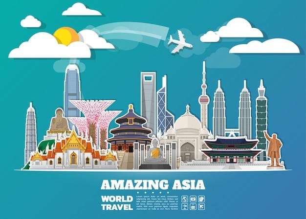 Asia famous landmark paper art