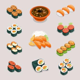 アジア料理のアイコン。ロールパンと寿司、味噌汁と刺身。レストランとおいしいメニュー、日本または中国の栄養、