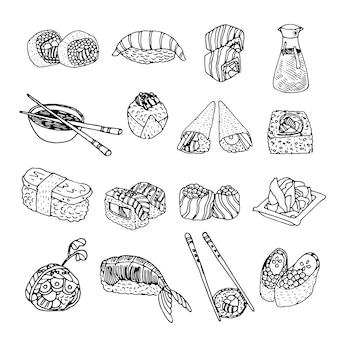 Asia food sushi icons set