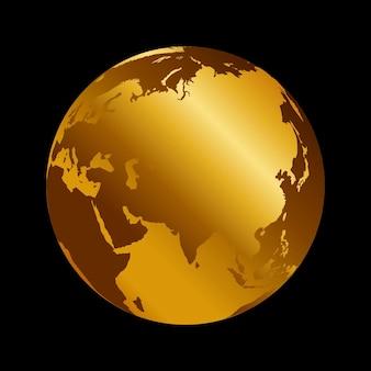 아시아 황금 3d 금속 행성 배경 보기입니다. 검은 배경에 러시아, 인도, 중국 세계 지도 벡터 일러스트 레이 션.