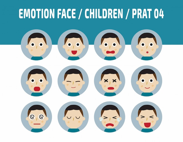 Asia kids emotions avatar face feelings.