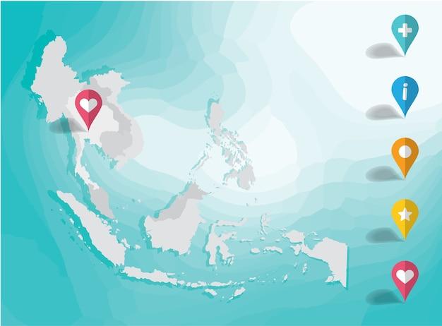 アジア地図とピンポストイラストベクトルの背景