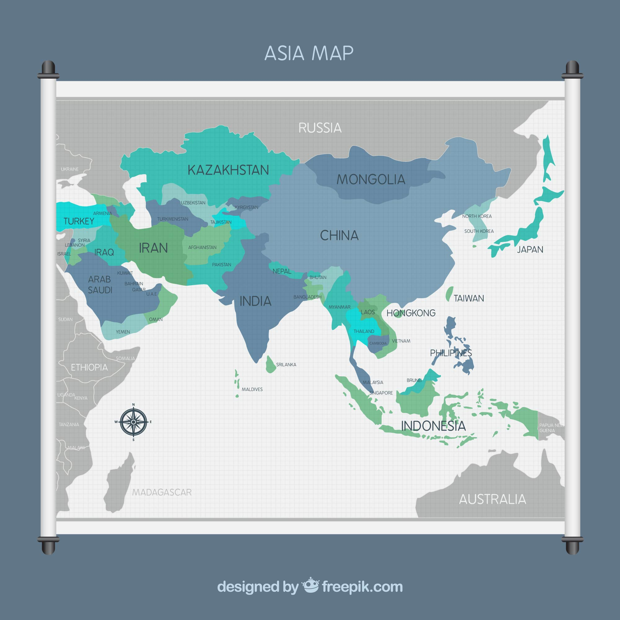 Asia map background in flat style