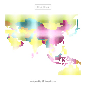 Asia map background with dots