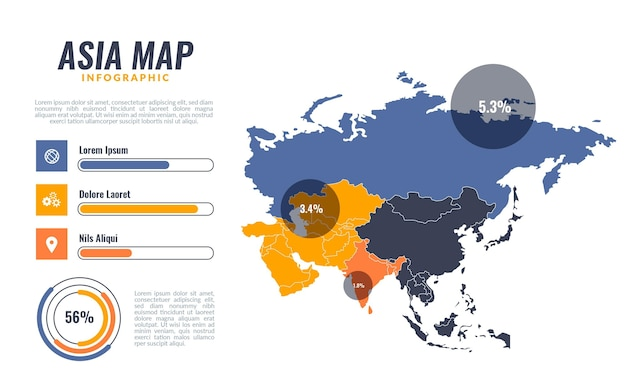 Asia map infographic in flat design
