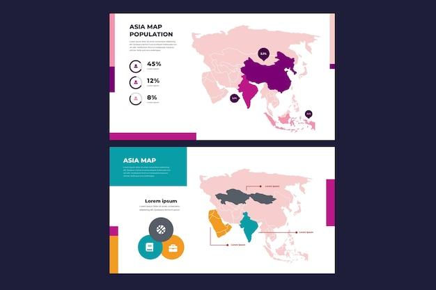 평면 디자인에 아시아지도 infographic