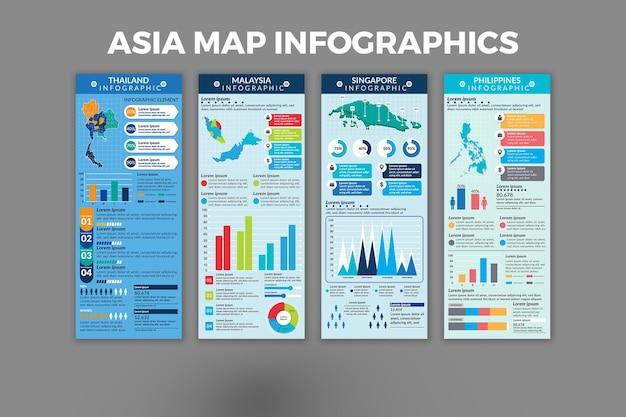 아시아 지도 infographic 템플릿 디자인