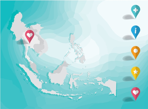 Asia map and pin pointer illustration vector background