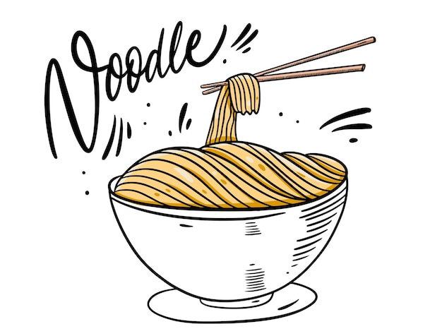 Asia noodle in deep bowl illustration
