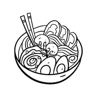 Asia noodle in deep bowl illustration