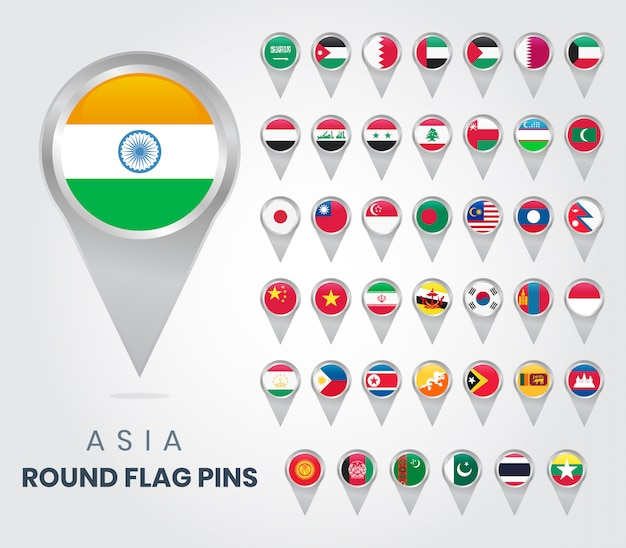 Asia round flag pins, map pointers