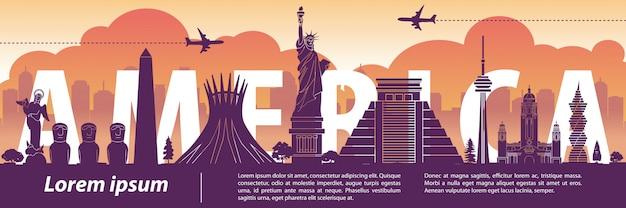 Asia top famous landmark silhouette