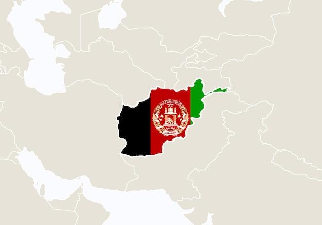 Азия с выделенной картой афганистана. векторные иллюстрации.