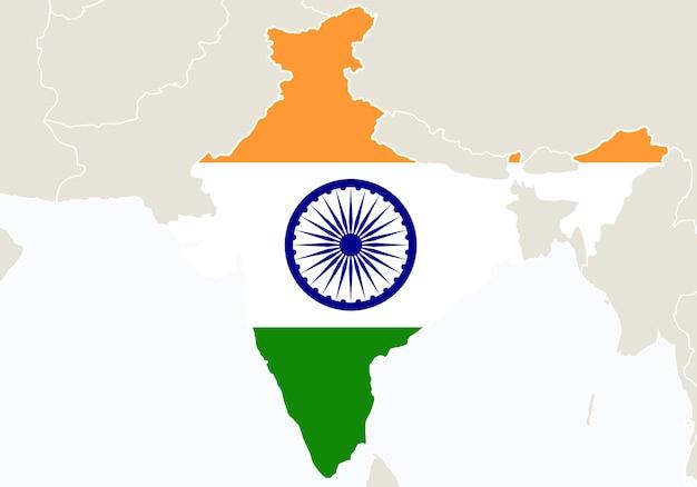 インドの地図が強調表示されたアジア。ベクトルイラスト。