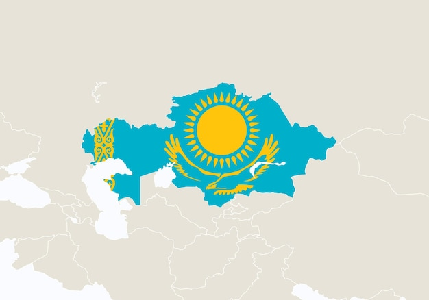 カザフスタンの地図が強調表示されたアジア。ベクトルイラスト。
