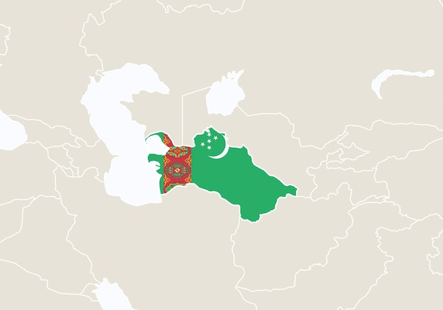 トルクメニスタンの地図が強調表示されたアジア。ベクトルイラスト。