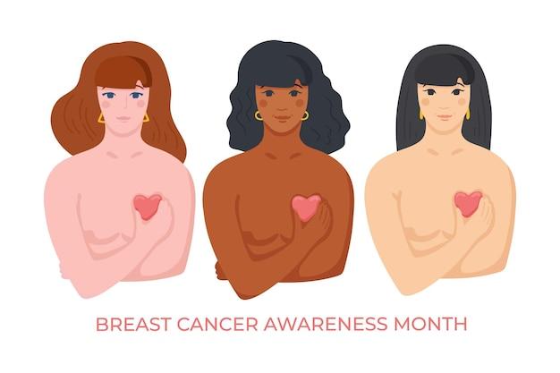 乳がんの戦闘機をサポートする一緒に立っているアジアのアフリカ系アメリカ人と白人の女性