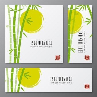 Asian bambu threes cards or japanese bamboo banners vector illustration