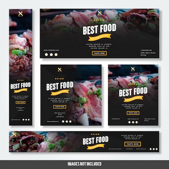 Asian best food restaurant with banners