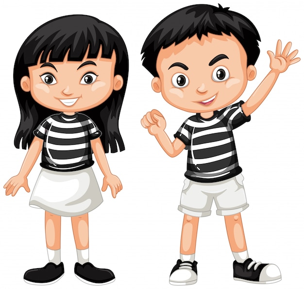 Asian boy and girl waving hand