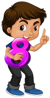 Asian boy holding math number eight