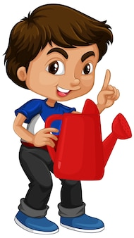 Азиатский мальчик держит красную лейку