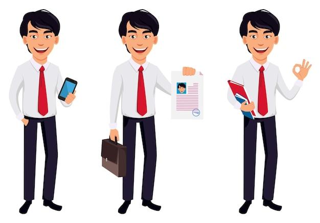 Asian business man, concept of cartoon character