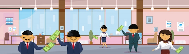 Asian business people group holding dollar in modern office banknotes salary