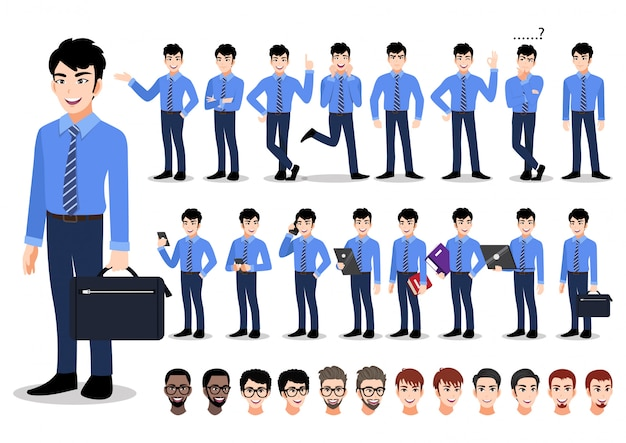 Asian businessman cartoon character set. handsome business man in office style smart shirt .