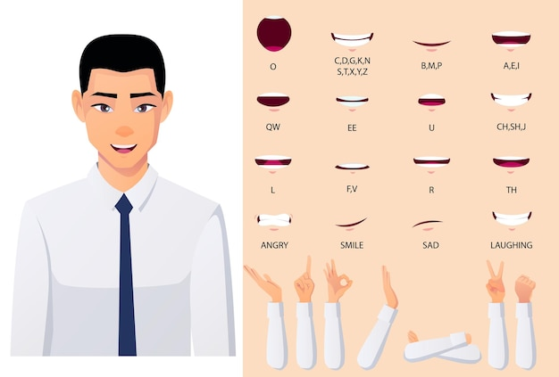 アジアのビジネスマンキャラクターリップシンと口のアニメーションセット