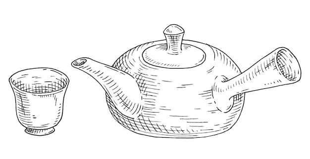 アジアのセラミックティーポットとカップ。ヴィンテージベクトルは黒を刻みます。白で隔離