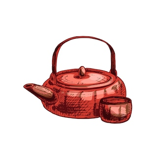 Asian ceramic teapot and cup vintage vector hatching color illustration isolated on white