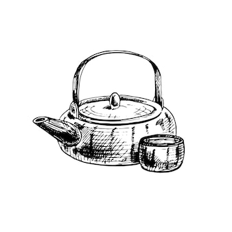 Asian ceramic teapot and cup. vintage vector hatching illustration