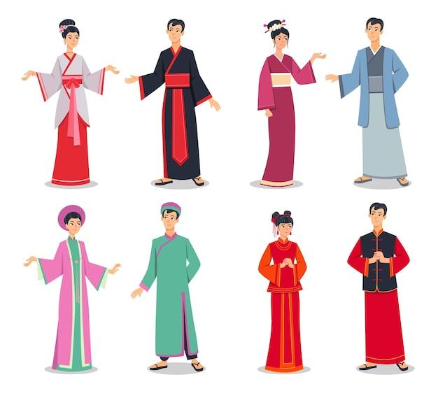 Азиатские персонажи в традиционной одежде векторные иллюстрации