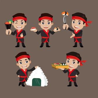 일본 요리사를 들고 아시아 요리사
