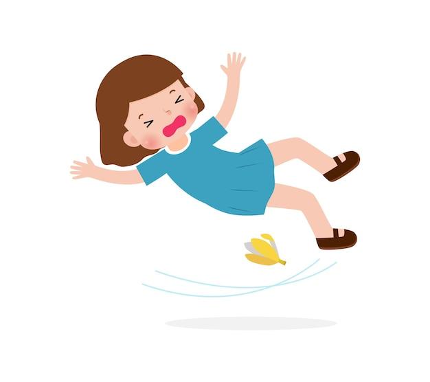 Asian children slipping on banana peel vector illustration isolated on white background