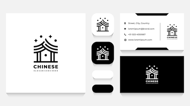 Шаблон логотипа азиатского китайского дома и визитная карточка