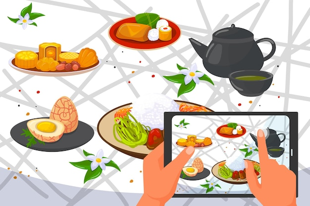 Asian chinese traditional food photo at smartphone, vector illustration. bowl with japanese cuisine, teapot with green drink. hands make photograph with healthy rice, eggs, vegetables at table.