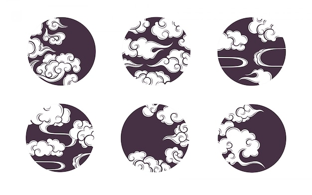 Asian circle cloud set. traditional cloudy ornaments in chinese, korean and japanese oriental style.  set of vector decoration retro elements.