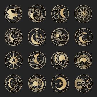 雲、月、太陽、星入りアジアサークル。東洋の中国語、日本語、韓国風のベクトルコレクション