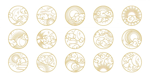 Asian circle set with clouds, moon, sun, stars . vector collection in oriental chinese, japanese, korean style