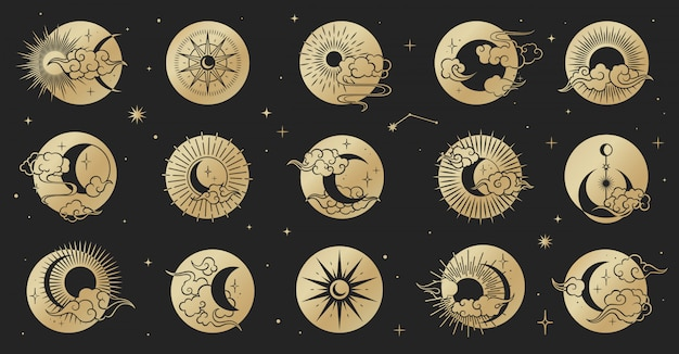 Asian circle set with clouds, moon, sun, stars . vector collection in oriental chinese, japanese, korean style.