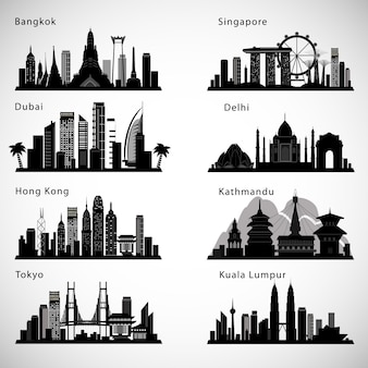 Asian cities skyline set. vector silhouettes.
