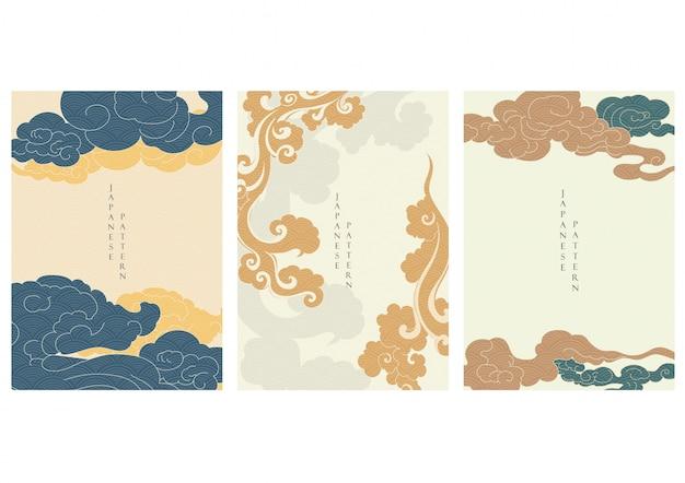 日本の波のパターンを持つアジアの雲の背景。ビンテージスタイルのオリエンタルテンプレート。
