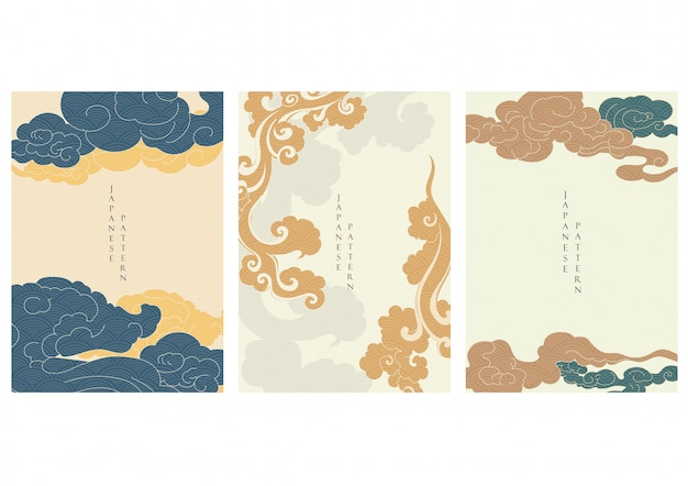 Asian cloud background with japanese wave pattern  . oriental template in vintage style.