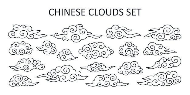 일본 스타일의 아시아 구름 세트